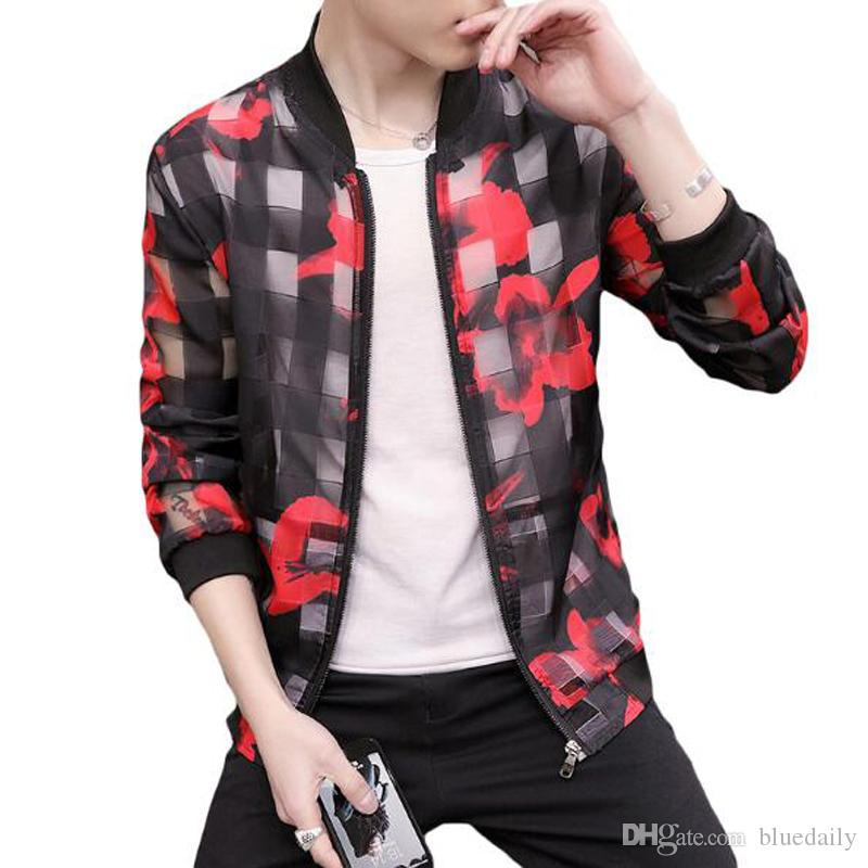 Fashion Thin Jacket Coat Men Floral Printing Bomber Jacket Men