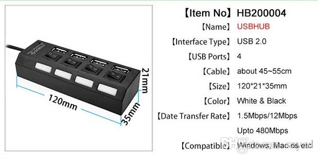 High Speed USB 2.0 Hub 4 Ports Portable USB Hub 480 Mbps On/Off Switch Hub USB Splitter Adapter For PC Laptop