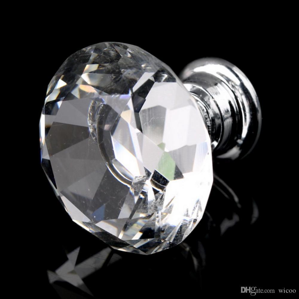 1 pack / 30mm Forma de Diamante de Cristal Gaveta Do Armário De Vidro Puxadores e Puxadores Handles Porta Da Cozinha Guarda-roupa Acessórios de Hardware