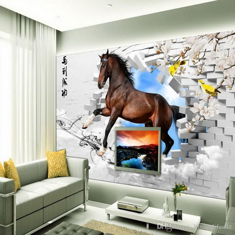 3d Stereo Horses Brick Wall Painting Tv Backdrop Custom Wallpaper Living Room Restaurant Mural Computer Wallpapers Backgrounds Contemporary From