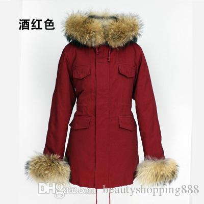Women's warm winter real raccoon fur collar hooded army green raccoon fur cuff cotton-padded plus velvet thickening parka coat XXL