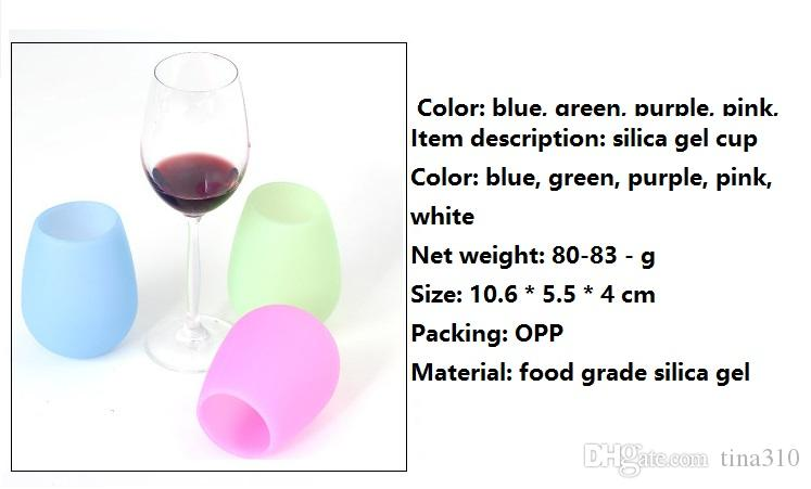 Silicone Wine Glasses Unbreakable Stemless Rubber Beer Mug Outdoor Cup Wine Glass Recyclable Drinking Cups I088