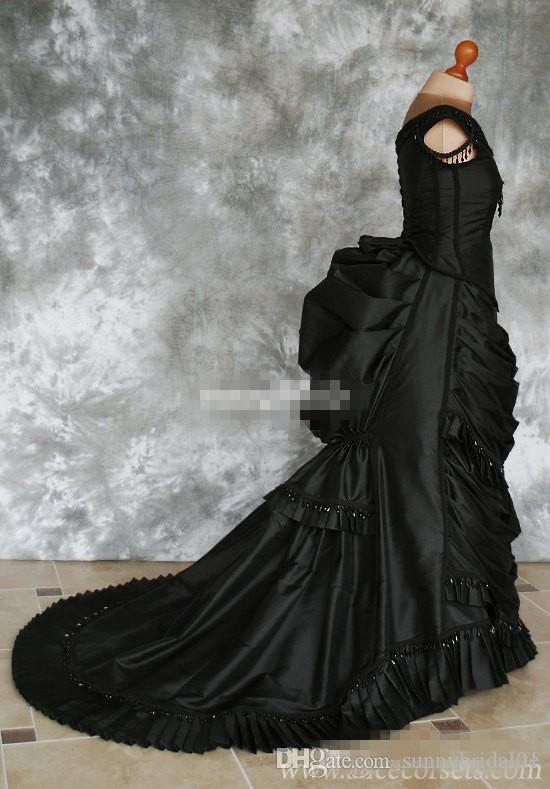 2020 Black Gothic Wedding Dresses Off Shoulder Ruffles Crystals Satin Chapel Train Plus Size Victorian Bridal Gowns Custom Made