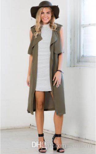 Fashion Women Ladies Double Layerd Long Cardigan Jacket Coat Army green Sleeveless Waistcoat With Belt Outerwear