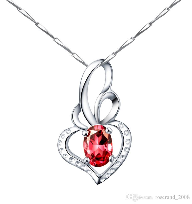 Wholesale wholesale brand new 925 sterling silver with rose red wholesale wholesale brand new 925 sterling silver with rose red natural magnalium garnet pendant with chain genuine necklace for women fashion jewelry pearl aloadofball Images