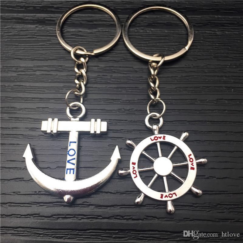 Pareja amante llavero - 1 par de moda creativa volante de anclaje llavero titular del anillo de la cadena del regalo del día de san valentín