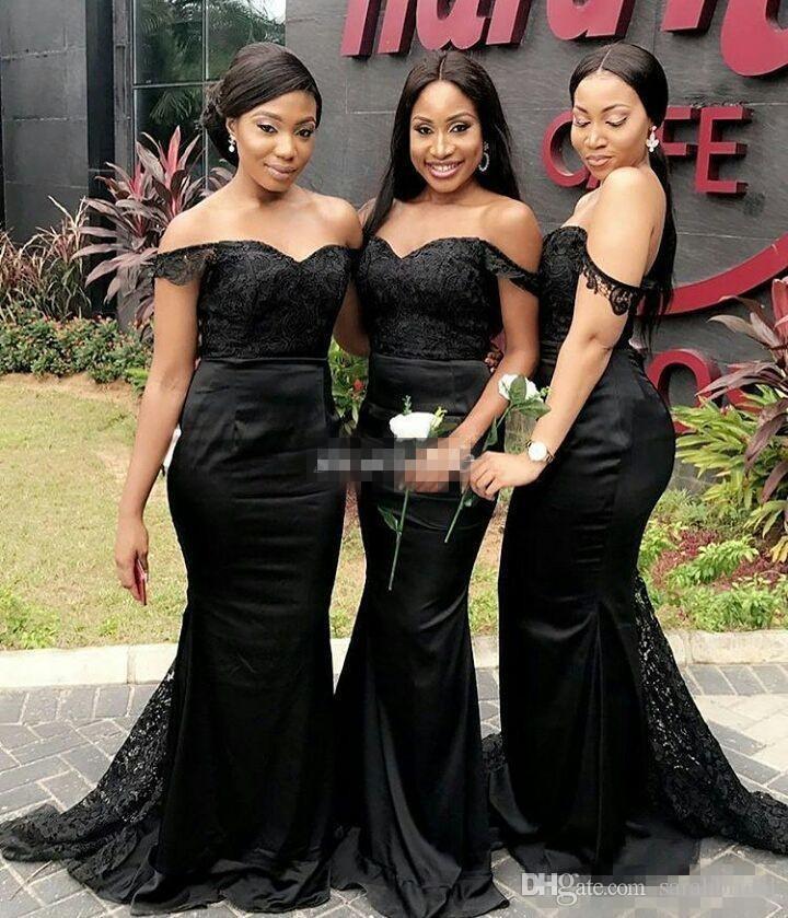 Sexy Black Mermaid Brautjungfernkleider Nach Maß aus der Schulter Sweep Zug 2019 Plus Size Hochzeitsgast Kleid Abend Trauzeugin Kleid