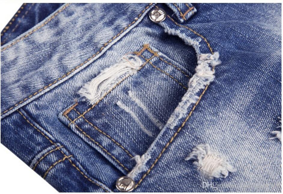 New 2017 Men grinding water wash jeans foreign trade waist jeans pants big yards Y1002