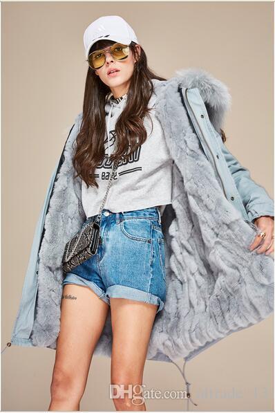 Luxurious pink fur trim rabbit fur lined Jazzevar brand pink canvas long jackets women coats with ykk zipper good quality snow parka