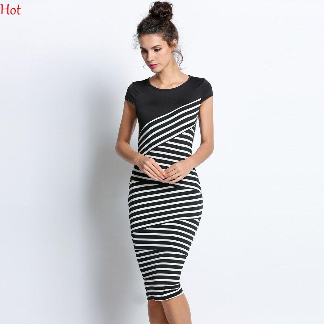 Großhandel Elegante Frauen Striped Kleid Kurzarm Tunika Party Wear ...