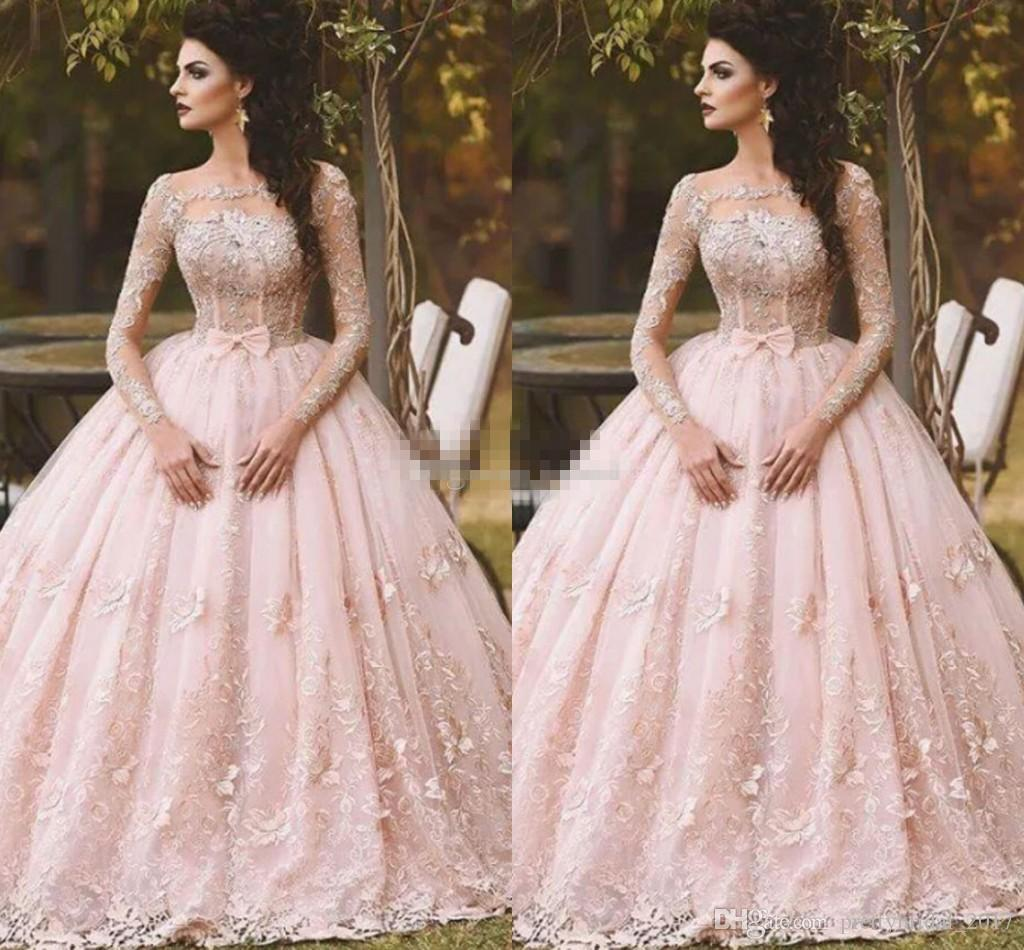 Vintage Wedding Dresses Usa: Pink Long Sleeve Prom Dresses Ball Gown Lace Appliqued Bow