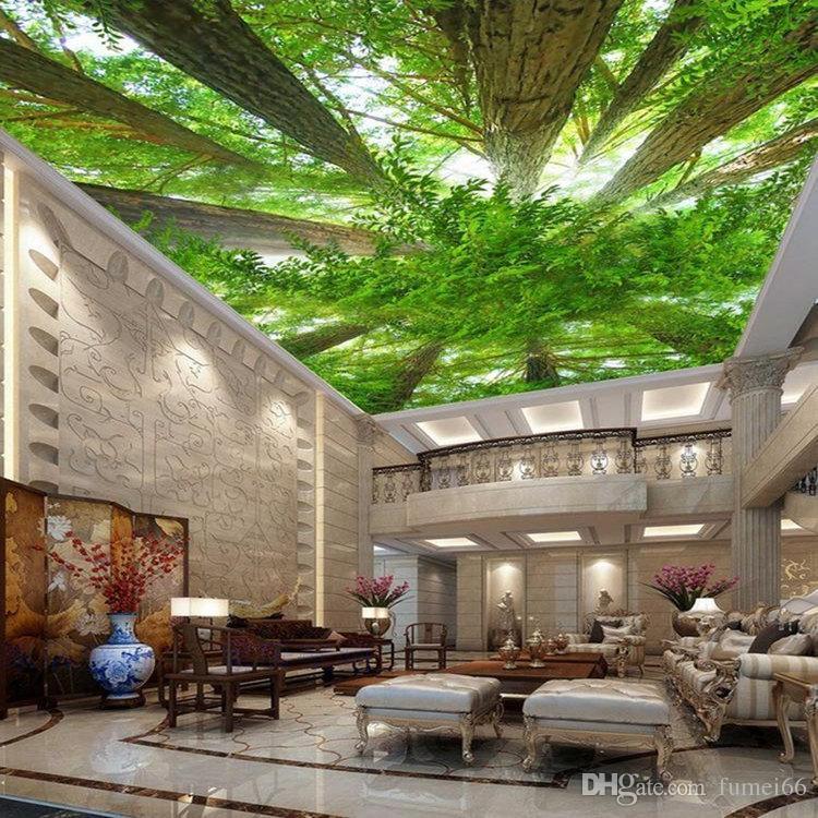 Wandkunst Wandbild Wohnzimmer Schlafzimmer Große 3D-Bilder Decke Fresko  Tapeten Gemälde Decke Grüne Landschaft Bäume