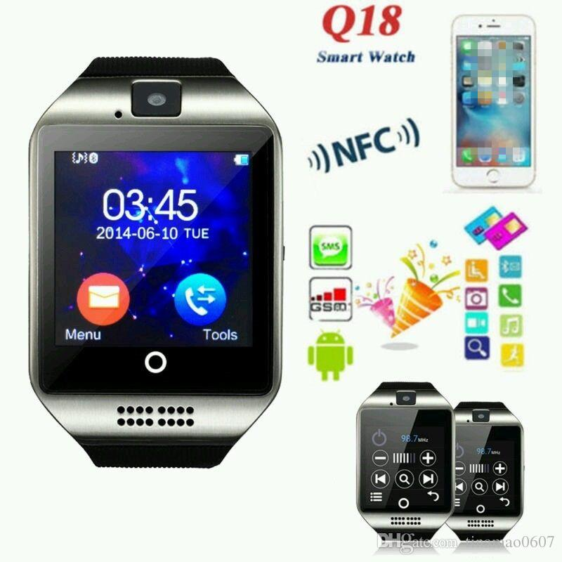 Q18 Smart Watch Bluetooth Smart watches For Android Phone with Camera Q18 Smartwatch Support TF SIM Card NFC Connection with Retail Package