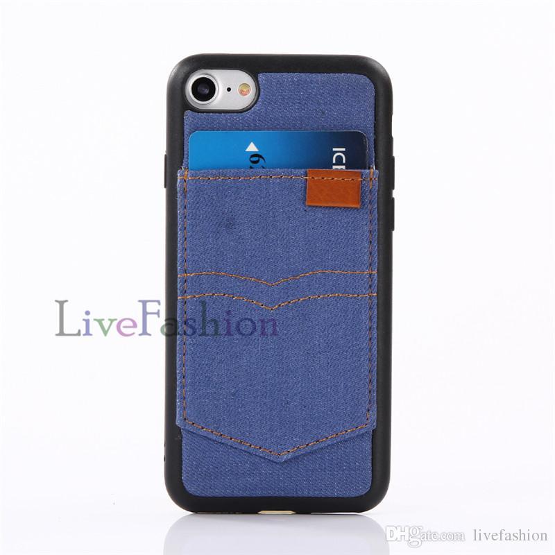 Estuche de cuero de vaquero Estuche trasero para iPhone 7 6 Plus con ranura para tarjeta Fundas con tapa para teléfono celular Estuches de TPU para Iphone 5