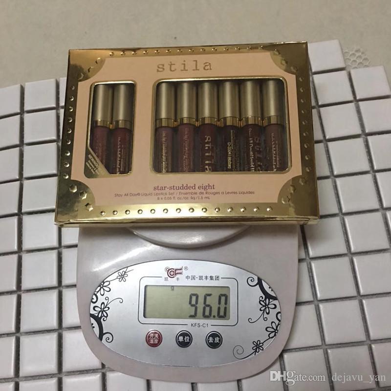 New Stila Star-studded Oito Fique Todos Os Dias batom Líquido set 8 pçs / caixa Longa Duração Cremosa Brilho Líquido Batom Lip Gloss