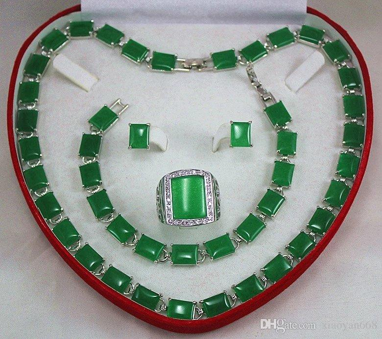 Женская подарок слово Оптовая колье ювелирные наборы для женщин аниме зеленый нефрит серебро crystl серьги браслет ожерелье кольцо