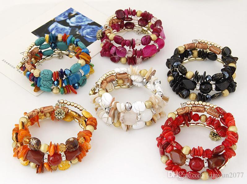 Bohemia Ethnic Fashion Jewelry Vintage Retro Irregular Beads Shell Turquoise Accessories Women Charm Multilayer Bracelets Elasticity Bangles