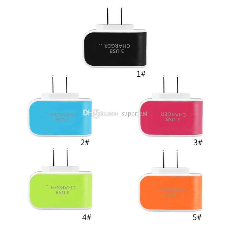 3 Carregador de Parede USB Adaptador de LED Adaptador de Viagem Triplo Portas USB Carregadores Casa Plug Para O Telefone Móvel Com Pacote de Opp