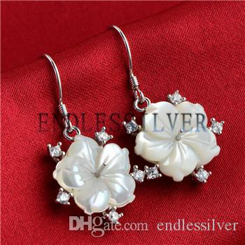 Earring Settings White Shell Floral Design 925 Sterling Silver Big Flower Earring Mountings for Pearl Party
