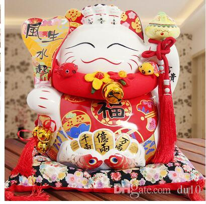 big eight party to wealth Lucky Cat 14 inch opening housewarming gift money piggy bank ceramic ornaments