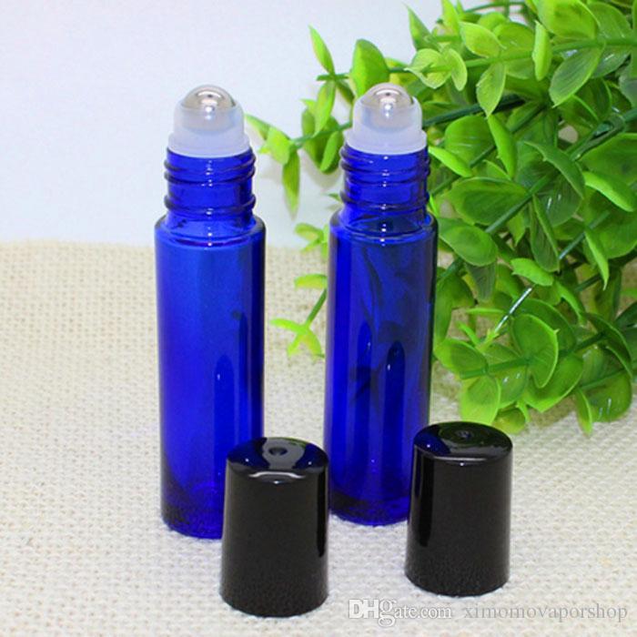 Bottiglie di vetro di colore blu all'ingrosso 10ml a buon mercato con rullo in acciaio inossidabile e coperchio nero profumo di olio liquido E Spedizione gratuita DHL