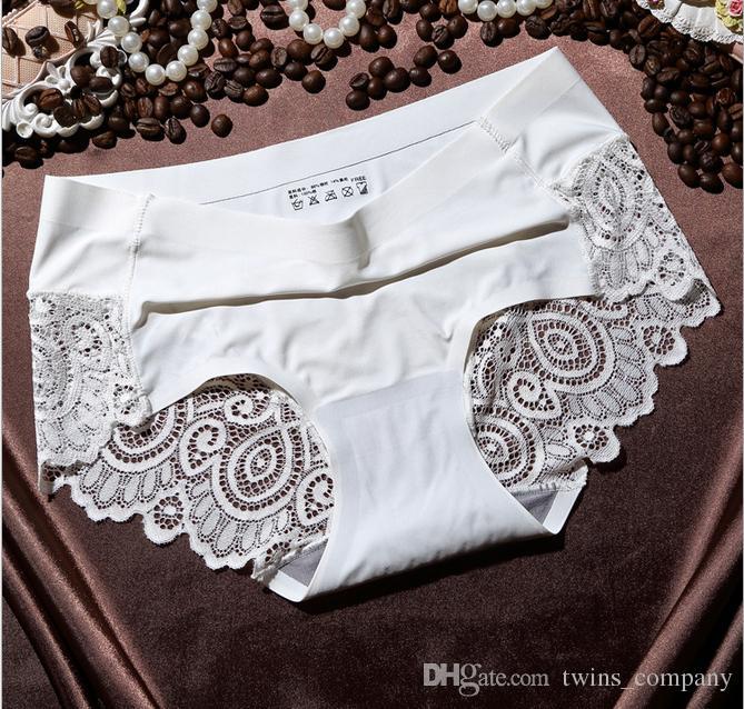 High-end sexy gosto de seda gelo roupa interior das senhoras sem traço de renda borda feminina cuecas 2017 New Arrival Mulheres Sexy Calcinha De Renda Sem Costura