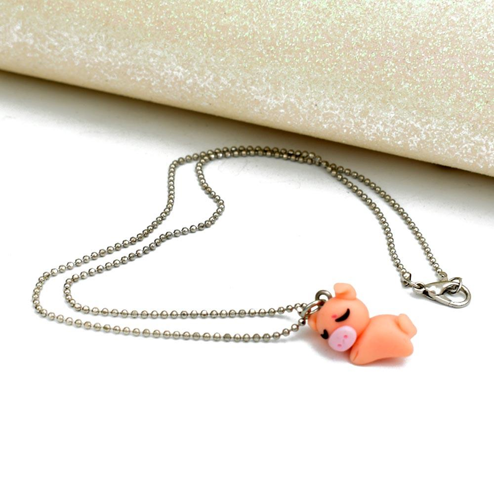 Cute Sleepy Pig Pendants Necklaces Polymer Clay Animal Chain Necklace Handmade DIY Cartoon Jewelry For Kids Girls
