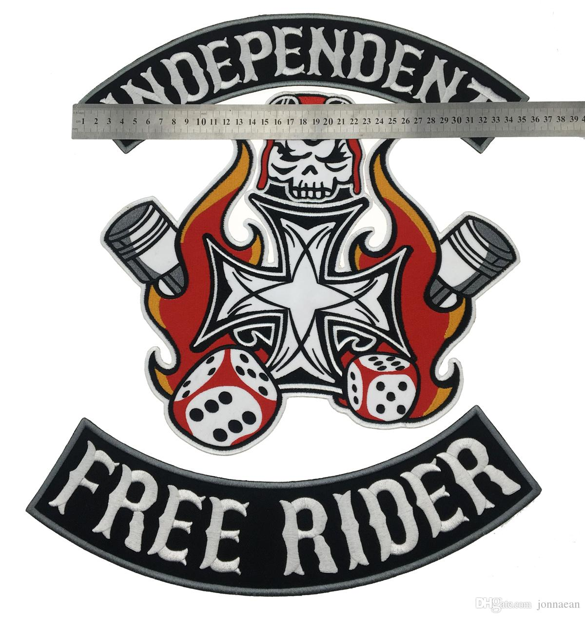 INDEPENDENT FREE RIDER MC Iron On Embroidered Patch Motorcycle Biker Large Full Back Size Patch for Jacket Vest Badge
