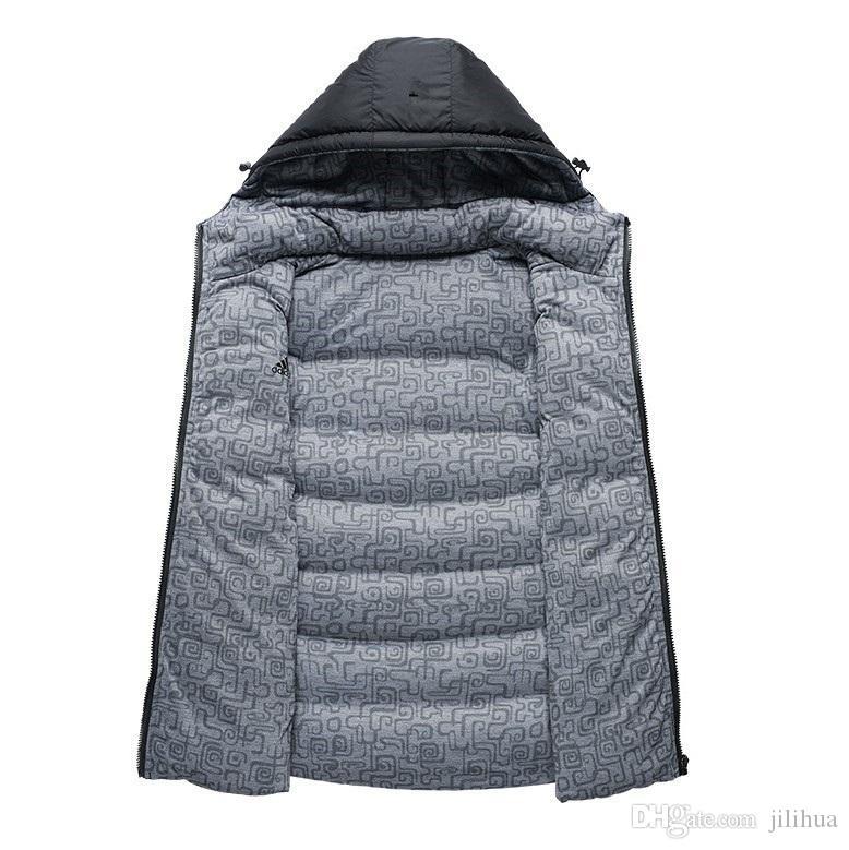 مبيعات سقوط المصنع مباشرة بطة بيضاء 90٪ بانخفاض معطف الرجال أسفل الرجال طوق الصدرية في زراعة الأخلاق أسفل سترة بلا أكمام واحد