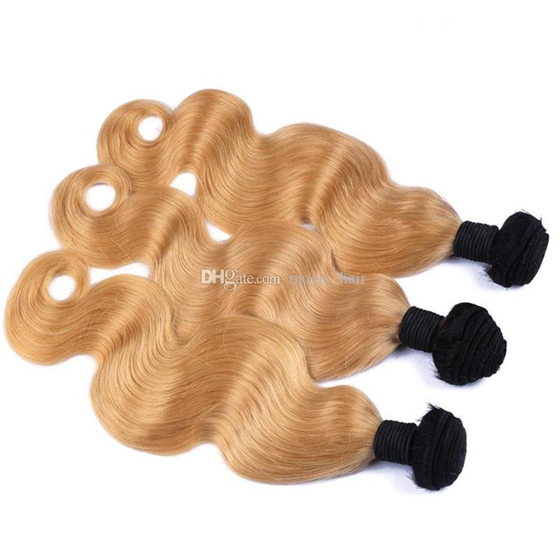 Two Tone 1B/27 Honey Blonde Dark Root Ombre Brazilian Body Wave Wavy Virgin Human Hair Weave Weft Extensions 3 Bundles