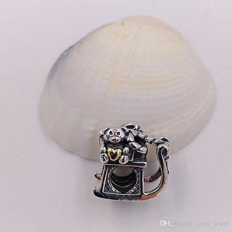 Cadeau de fête de Noël en argent Sterling 925 lâche Perles en jade Charme en traîneau Convient aux bijoux de Style Pandora européen Bracelets Collier