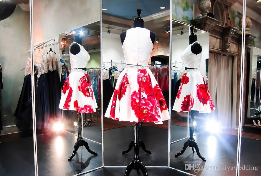 Short Prom Dresses Beaded Little White A Line Skirt with Red Floral Print Satin Formal Homecoming Party Cocktail Gowns Cheap New