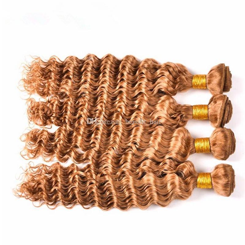 Cheveux blonds miel brésilien # 27 vague profonde / trame cheveux bouclés # 27 extensions de tissage cheveux blonds fraise 10-30 ''