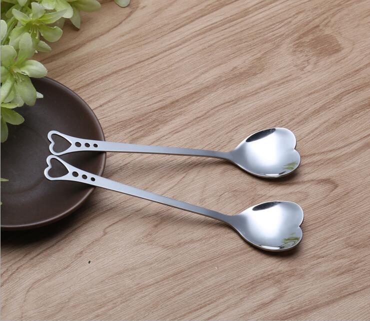 14.3 * 3.2cm Amantes de la cocina Corazón Amor Café Té Cuchara de medición Amante de la boda Favores Cena de acero inoxidable Vajilla Cuchara de café