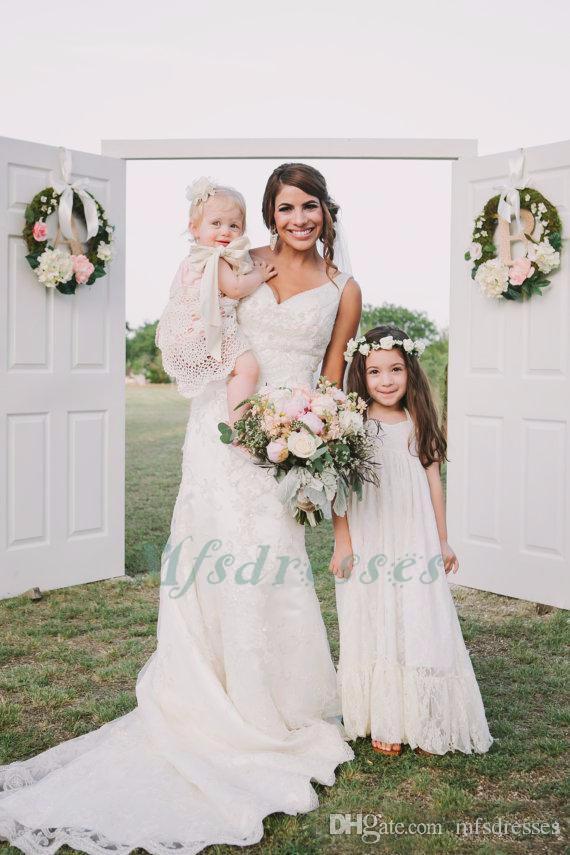 Flower Girl Dresses Una linea bianca Lace Halter Halter Long Wedding Pageant Abiti da prima comunione le bambine