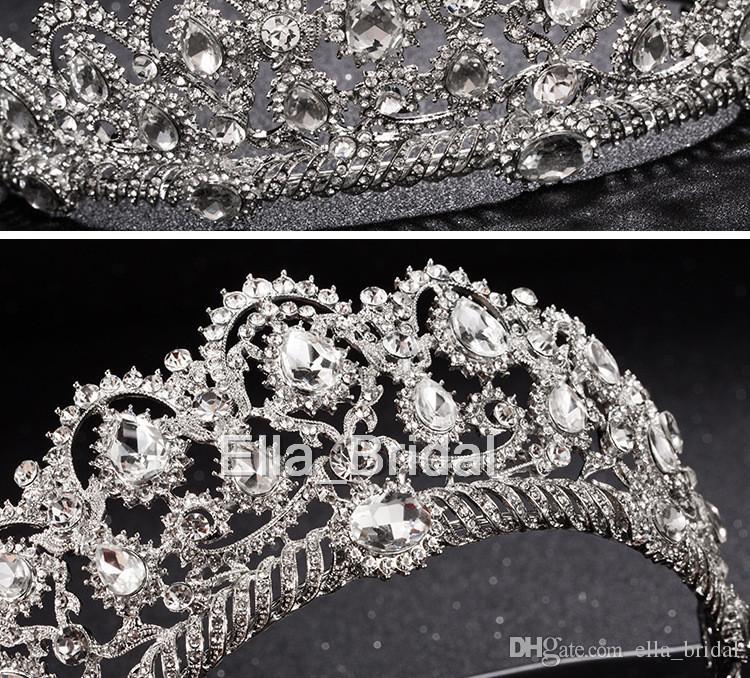 Luxus Braut Krone Billig, Aber Hohe Qualität Funkeln Perlen Kristalle Roayal Hochzeit Kronen Kristall Schleier Stirnband Haarschmuck Party Tiaras