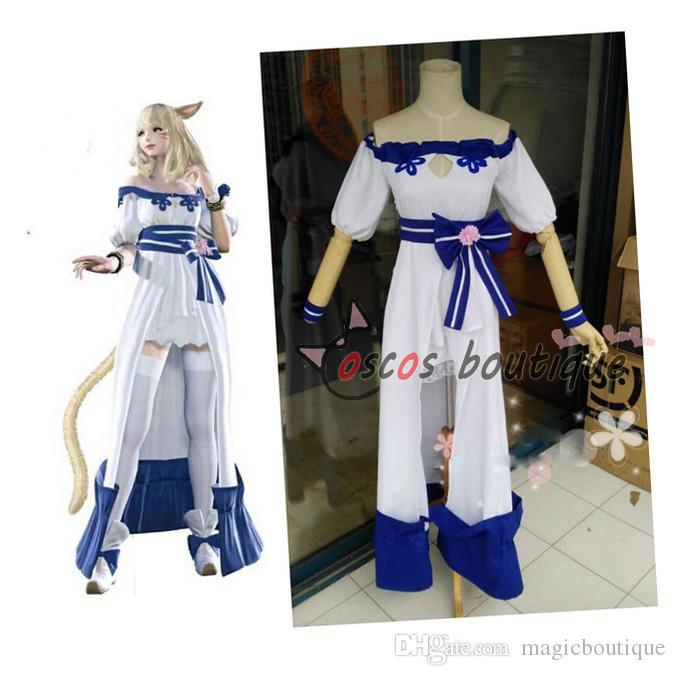 7f8b7c3e8 Final Fantasy XIV Lolita Dress White And Blue Game Cosplay Costume ...