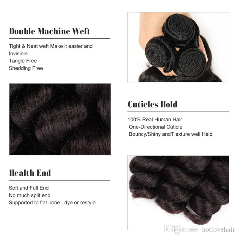 Ear to Ear Lace Frontal Closure With 4 Bundles Loose Wave Mongolian Virgin Human Hair Extensions HOTLOVE Grade 8A Good Quality Natural black