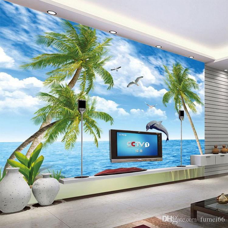 100 Home Design Ideas Free Download Hd Wallpapers: 3D Ocean View Dolphin Wallpaper TV Bedroom Background