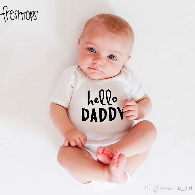 8d49403f8 ... INS Hello Dad Mom Newborn Infant Baby Boy Girl Romper Sleeveless Toddler  Kids Jumpsuit Outfits Sunsuit ...