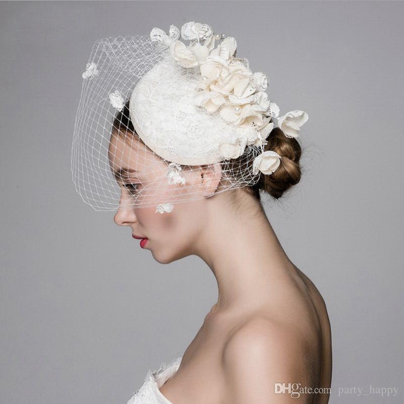 Bela França Vintage Birdcage Flor De Noiva Flores Feitas À Mão Fascinator Noiva Casamento Chapéus Véus de Rosto Mulheres Moda