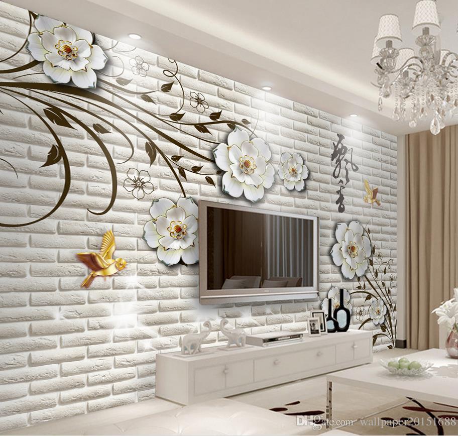 Modern Simple Three Dimensional Flowers Brick Wall Tv Wall