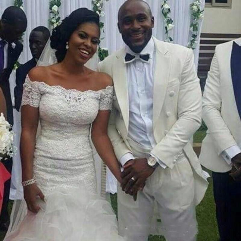 Moda Bateau Sereia Vestidos De Casamento Arábia Manga Curta Applique Plus Size africano País Vestido De Noiva Vestido De Noiva Da Igreja Vestido de Noiva Personalizado