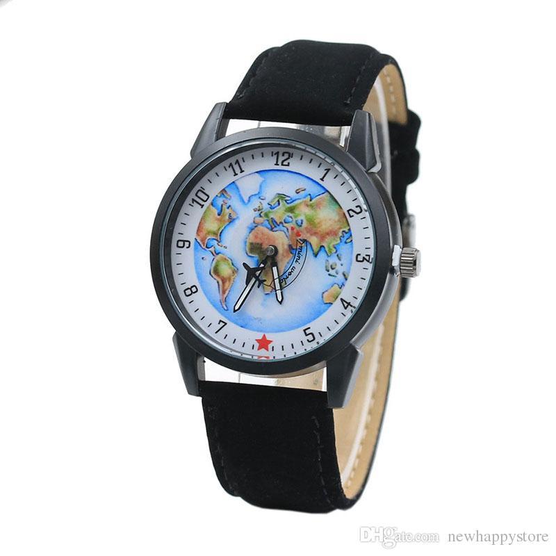 ... Los Hombres Mini Mapas Del Mundo Aeroplano Segundo Reloj De Cuero De  Diseño 2017 Hombres De Moda De Tendencia Estudiantes Deportivos Relojes De  Pulsera ... f5d17e129f6c