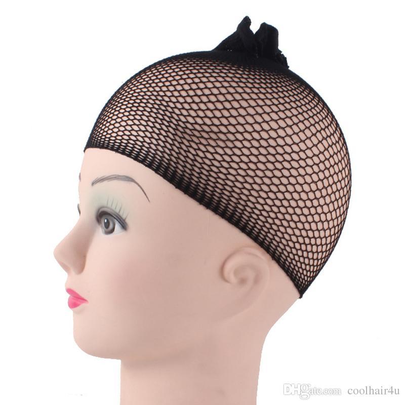 1 шт. / лот невидимые нейлоновые сетки для волос с эластичной новой моды прохладный сетки шапки для париков черный спандекс Cap размер управления ткачество Cap