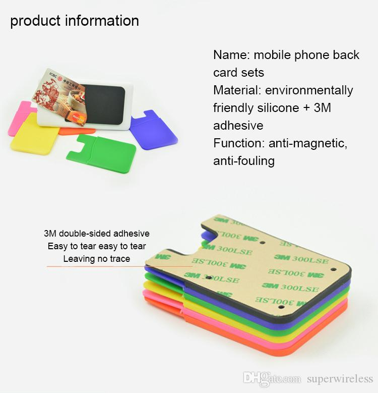 Phone Card Holder Silicone Cell Phone Wallet Case Credit ID Card Holder Pocket Stick On 3M Adhesive with opp bag