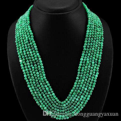 TOP MOST SELLING MINED 7 STRAND GREEN EMERALD BEADS NECKLACE 6mm