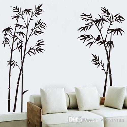 Acheter Bambou Stickers Muraux Salon Chambre Fond Murale Affiche Art  Fenêtre En Verre Décor Papier Peint Graphique Stickers Décoration Mur  Tatouage De $7.22 ...
