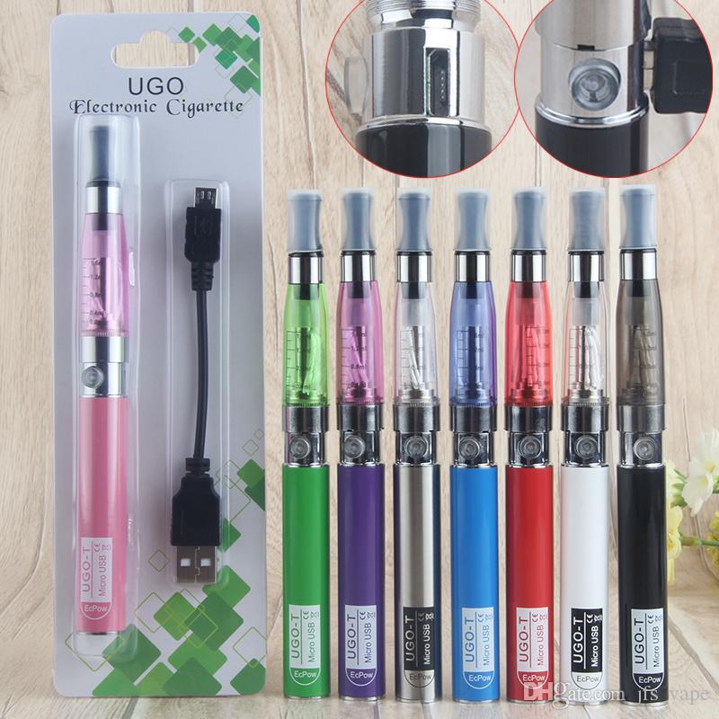 Kits de cigarrillos electrónicos eGo T CE4 Single Vaporizer Blister Starter con 650mAh eGo Micro USB Evod Pass Through Carga de batería por lado