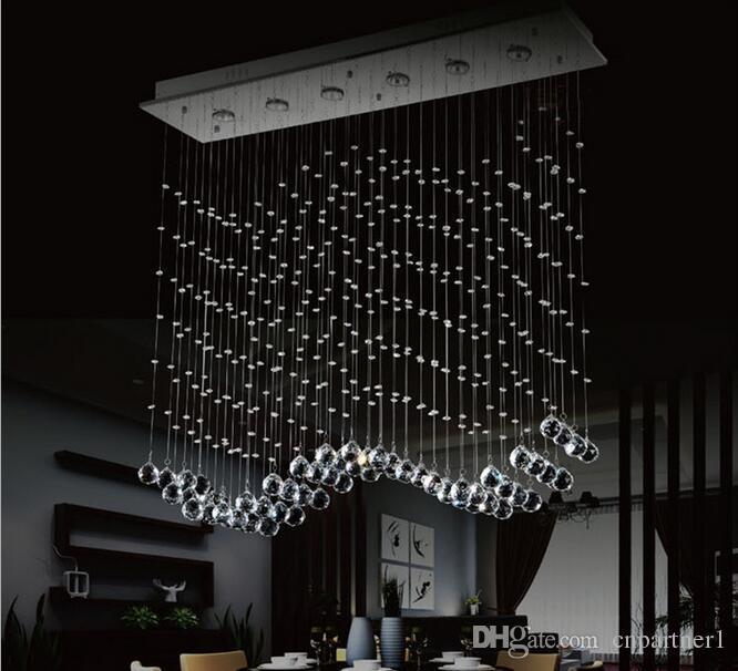 Luxury Led 6 Light Crystal Wave Chandelier Modern Style Curtain ...